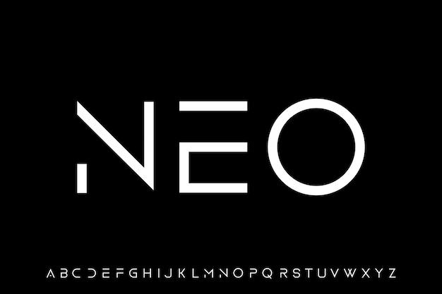 Neo, fuente futurista moderna geométrica con bordes afilados