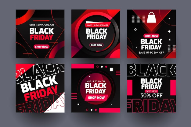 Neon black friday publicaciones de instagram