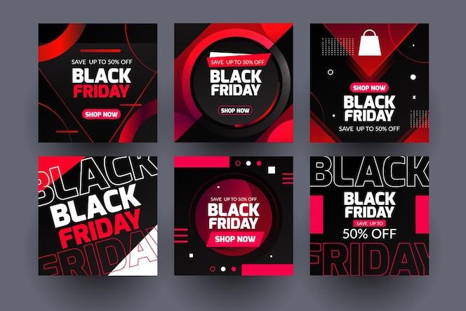 Neon black friday publicaciones de instagram