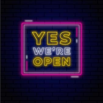 Neón brillante estamos abiertos signo