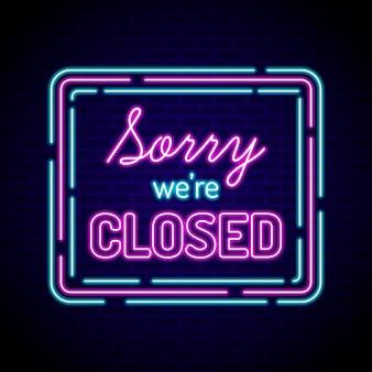 Neón brillante estamos cerrados