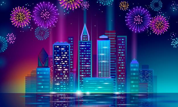 Neón brillante rascacielos vacaciones navidad paisaje urbano. año nuevo línea de punto poligonal azul oscuro cielo nocturno víspera plantilla de tarjeta de felicitación. silueta de ciudad de fiesta de luz brillante