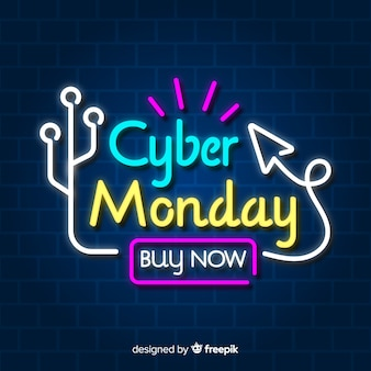 Neon cyber lunes banner