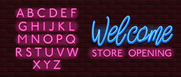 Neon fuente alfabeto fuente ladrillos pared bienvenida