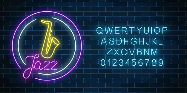 Neon jazz cafe con saxofón brillante cartel con alfabeto