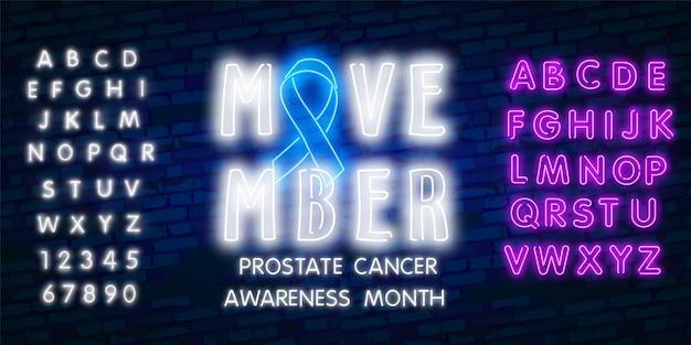 Neon movember, cinta azul de la conciencia del cáncer de próstata con bigote de neón.