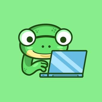 Nerd frog trabaja en la computadora portátil