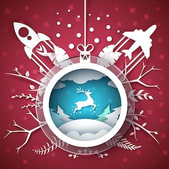 Nerry navidad - ilustración de dibujos animados de papel.