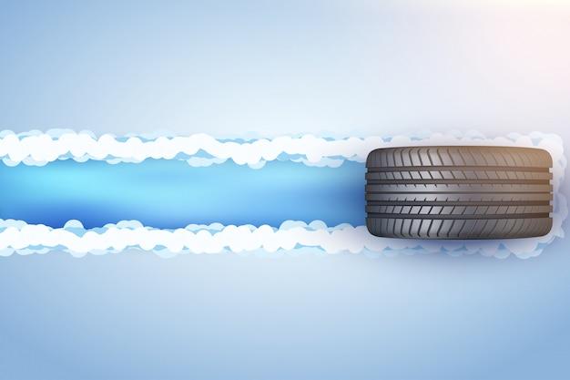 Neumático de automóvil sobre nieve y hielo