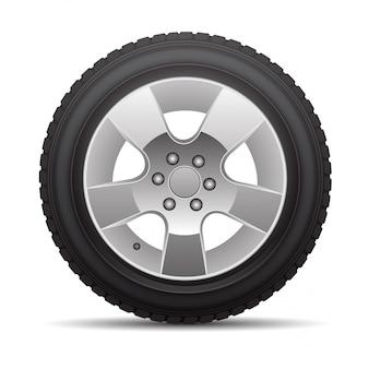 Neumático de coche rueda radial aleación de metal en aislado