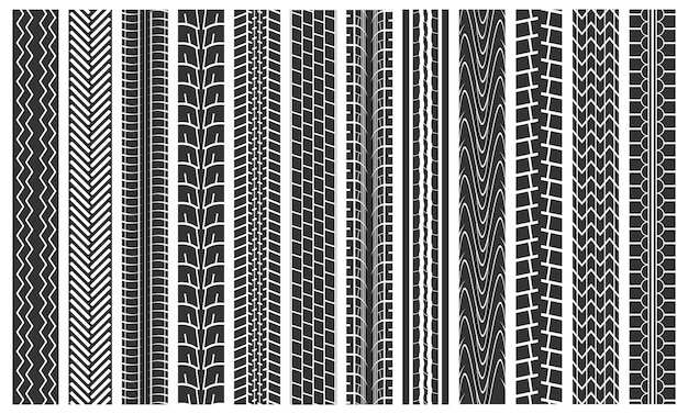 Neumático negro pistas de patrones sin fisuras detalle de fondo pie de imprenta coche de rueda de goma en la carretera. ilustración vectorial