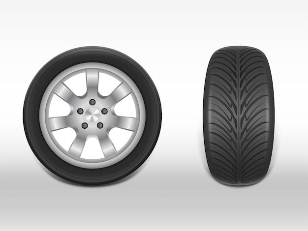 Neumático negro realista 3d en vista lateral y frontal, acero brillante y rueda de goma para automóvil