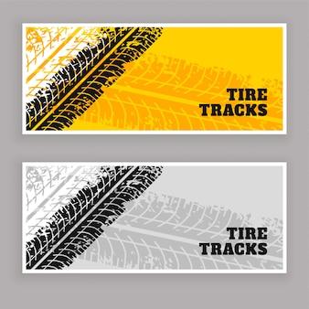 Neumático pistas banners grunge fondo
