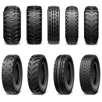 Neumáticos de camiones y tractores aislados en blanco