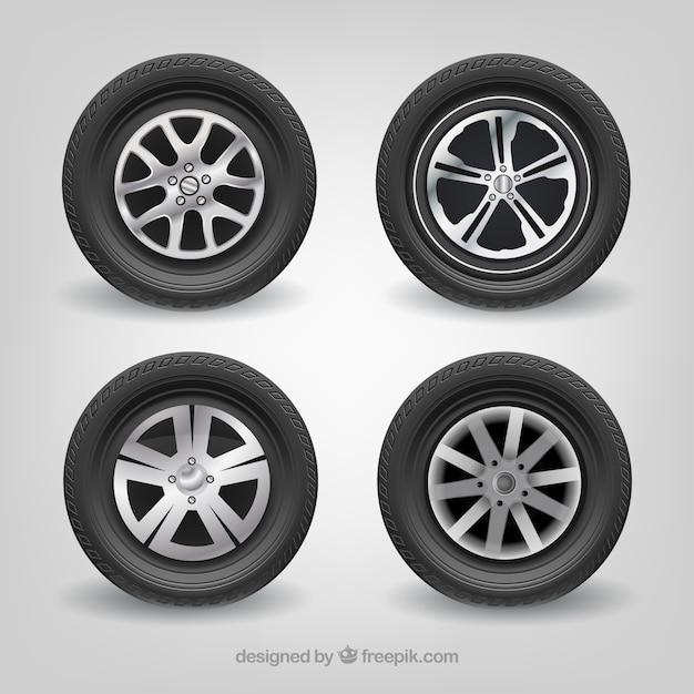 Neumáticos de coche mercedes-benz conjunto de vectores realistas