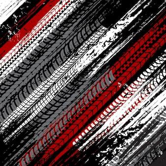 Neumáticos de coche rastros sucios fondo grunge