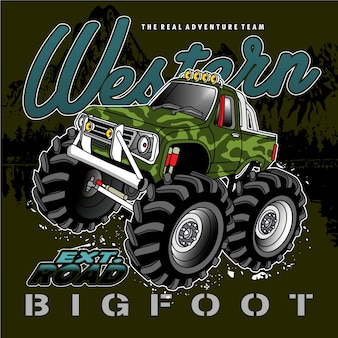 Neumáticos grandes del coche de carreras, ilustración del coche del vector
