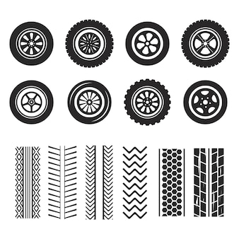 Neumáticos y huellas de pista aisladas