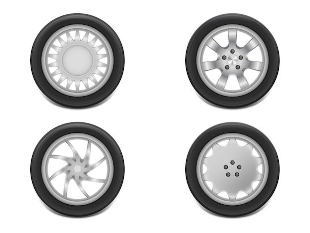 Neumáticos negros realistas 3d en vista lateral, acero brillante y rueda de goma para automóvil, automóvil