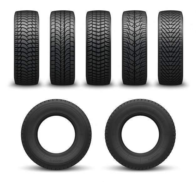 Neumáticos de rueda de coche o neumáticos 3d. piezas de repuesto