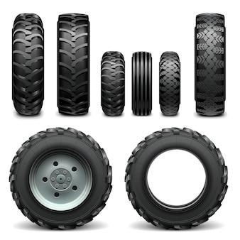Neumáticos de tractor aislado en blanco