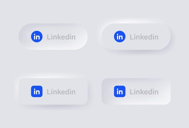Neumorphic linkedin logo icon for popular social media icons logos in neumorphism buttons ui ux