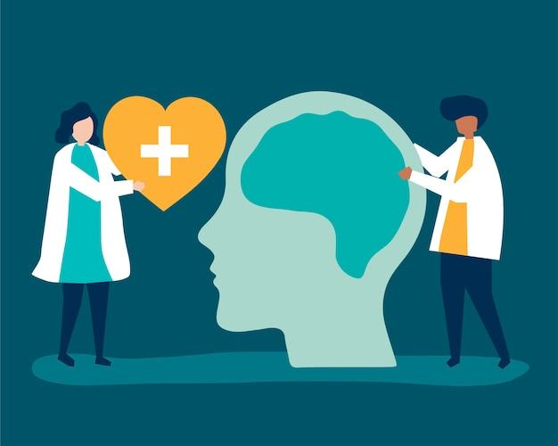 Neurocientíficos con un gráfico gigante del cerebro humano.