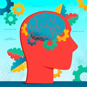Neurología moderna y colorida de personajes planos.