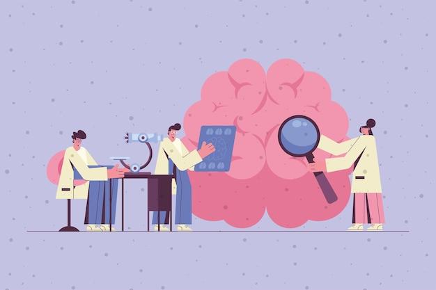 Neurólogos que examinan la ilustración del cerebro.