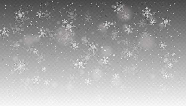 Nevadas, nieve que cae realista sin fisuras, copos de nieve en diferentes formas y formas, clima invernal.