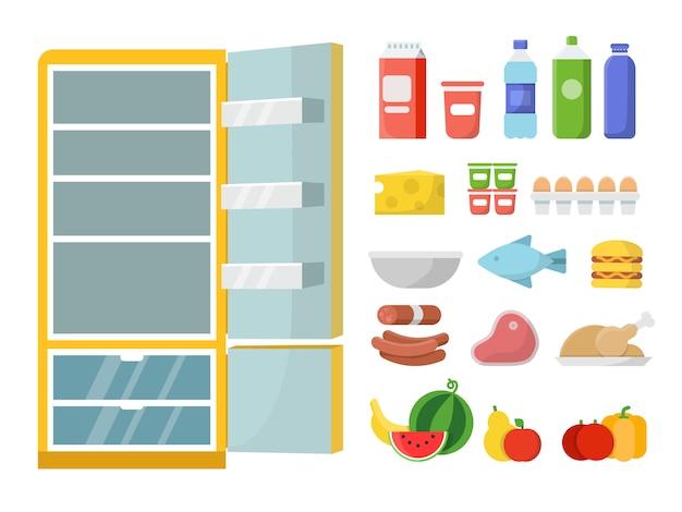 Nevera vacía y diferentes comidas. vector ilustraciones planas. refrigerador y alimentos frescos, botella de leche y carne, verdura y fruta.