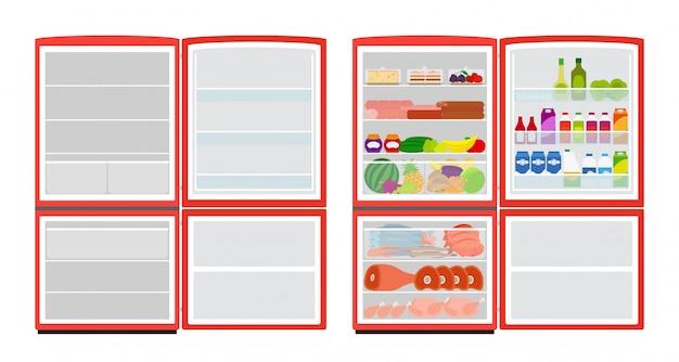Nevera vacía y llena. refrigerador rojo con comida sobre fondo blanco