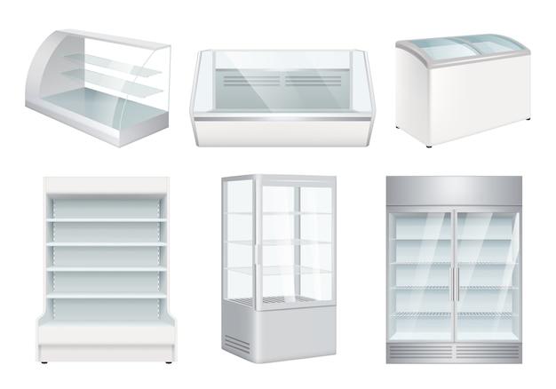 Nevera vacía. supermercado minorista equipos refrigeradores realistas para tienda