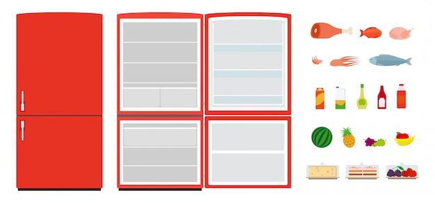 Neveras planas rojas. cierre y abra el refrigerador vacío. iconos de comida