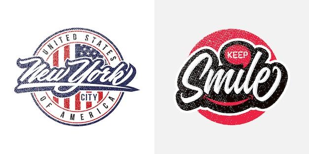 New york city y keep smile slogan text