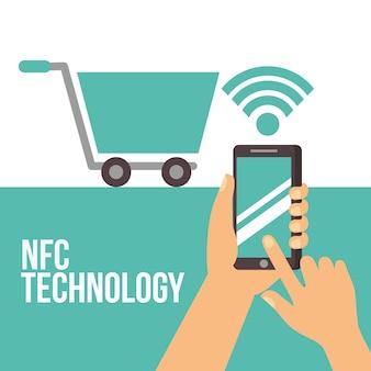 Nfc payment technology shopping cart mano que sostiene el teléfono inteligente