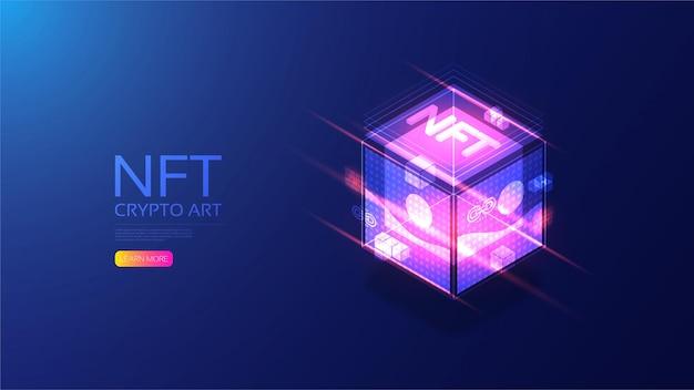 Nft isométrico con tecnología blockchain