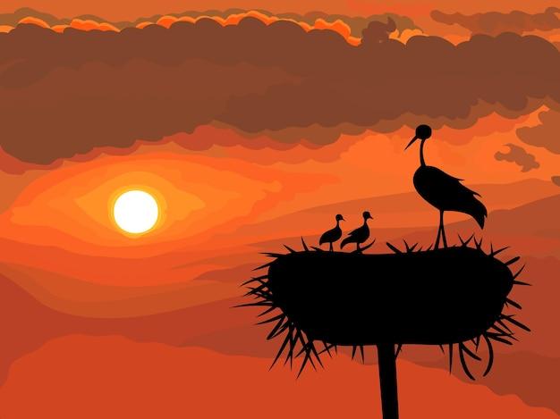 Nido de cigüeña con pollitos sobre un fondo de puesta de sol brillante
