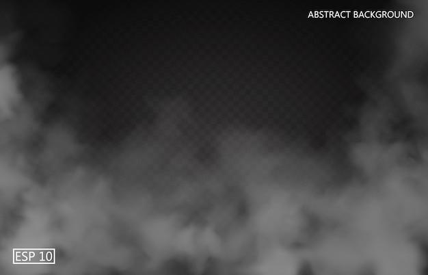 Niebla blanca o humo sobre fondo transparente aislado oscuro. cielo nublado o smog. ilustración