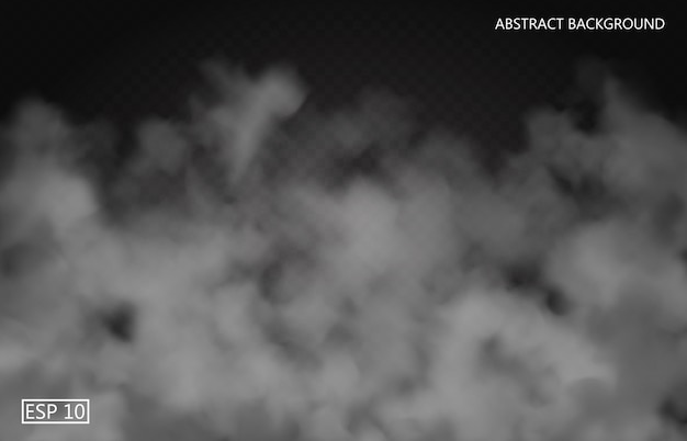 Niebla blanca o humo sobre fondo transparente oscuro. cielo nublado o smog. ilustración