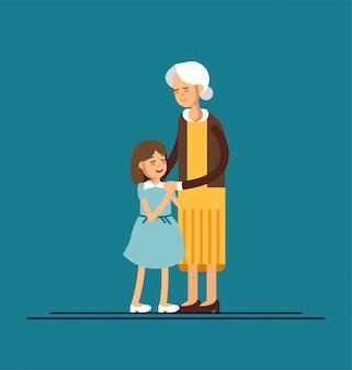 Nieta abrazando a su abuela. ilustración