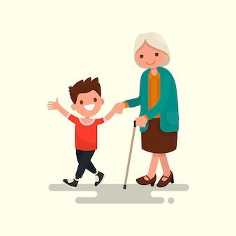 Nieto caminando con su abuela ilustración