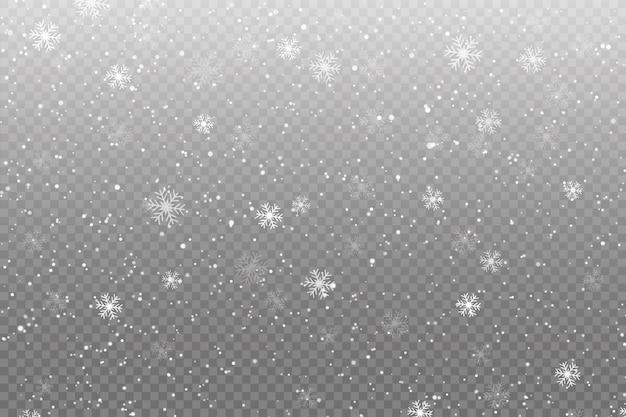 La nieve cae sobre transparente