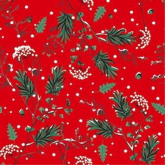 Nieve de invierno rojo en el patrón sin fisuras flor de jardín