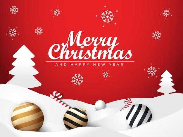 Nieve de navidad y fondo rojo con adornos de bolas y dulces