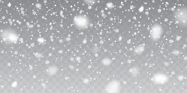 Nieve navideña. copos de nieve cayendo sobre fondo transparente. nevada.