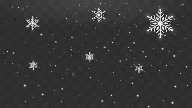 Nieve que cae los copos de nieve de invierno navidad año nuevo concepto de diseño.