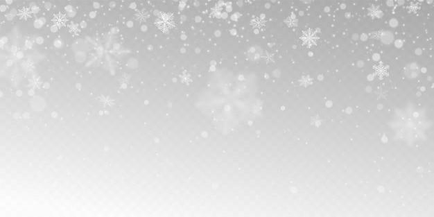 Nieve que cae realista con copos de nieve blancos, efecto de luz.