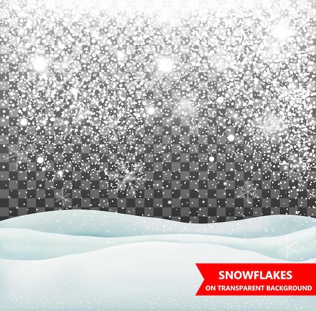 La nieve que cae sobre un fondo transparente. nevada. navidad. copos de nieve. ilustración de copo de nieve