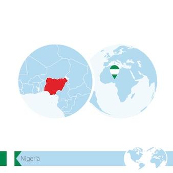 Nigeria en globo terráqueo con bandera y mapa regional de nigeria. ilustración de vector.